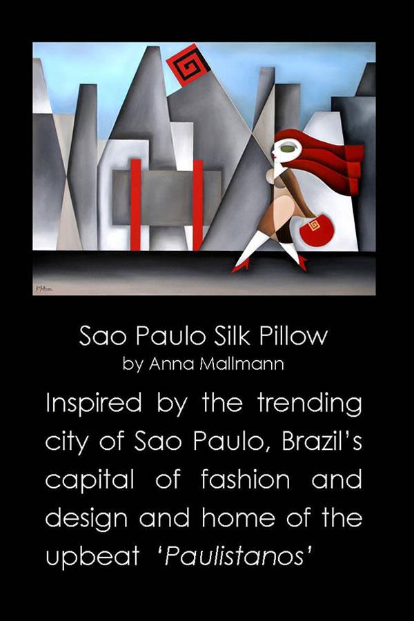 Anna Mallmann Design Sao Paulo Silk Pillow EUA